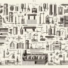 "Vintage Engineering Experimental Science Tools Chart 13""x19"" (32cm/49cm) Polyester Fabric Poster"