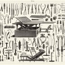 """Vintage Engineering Experimental Science Tools Chart 13""""x19"""" (32cm/49cm) Polyester Fabric Poster"""