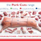 "The Pork cuts range Infographic Chart 13""x19"" (32cm/49cm) Polyester Fabric Poster"