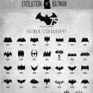 "Evolution of Batman Logo Chart 18""x28"" (45cm/70cm) Poster"