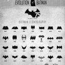"Evolution of Batman Logo Chart 18""x28"" (45cm/70cm) Canvas Print"