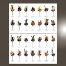 "Exotic Alcohol Drinks Cocktails Chart 18""x28"" (45cm/70cm) Bundle of 2 Poster"