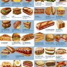 """What's your favorite sandwich Chart 13""""x19"""" (32cm/49cm) Polyester Fabric Poster"""