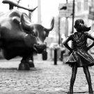 "Fearless Girl Bull Statue Wall Street 18""x28"" (45cm/70cm) Canvas Print"