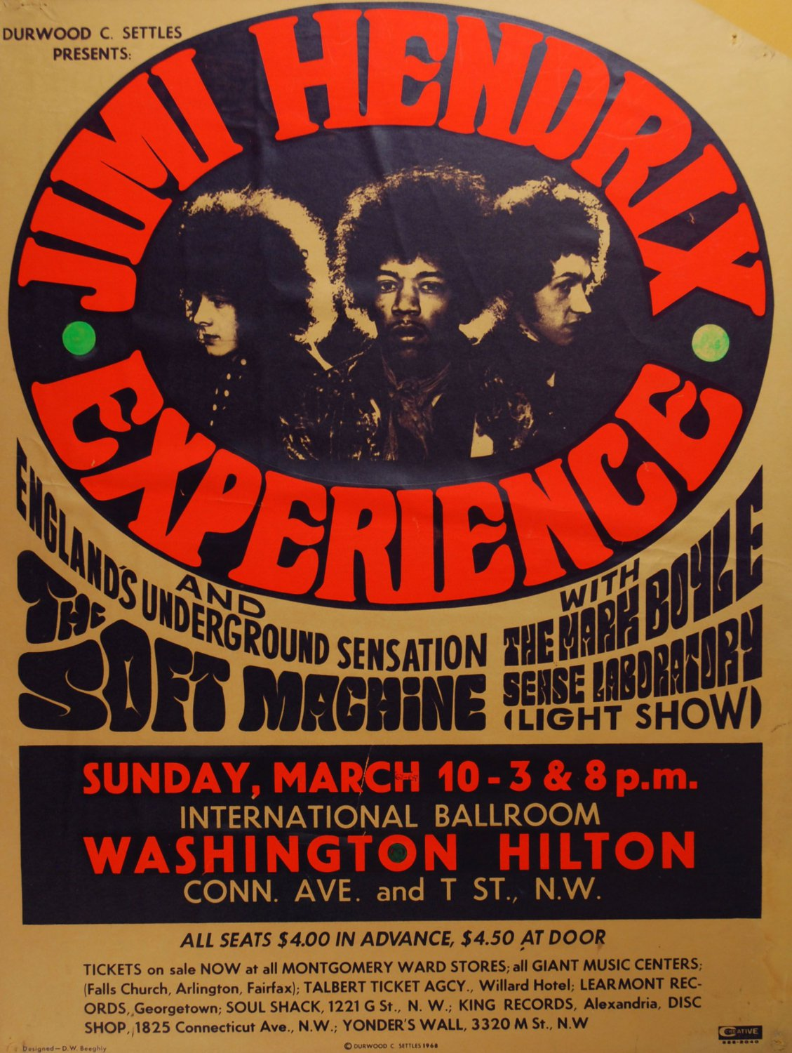 "Jimi Hendrix Experience Concert Tour 13""x19"" (32cm/49cm) Polyester Fabric Poster"
