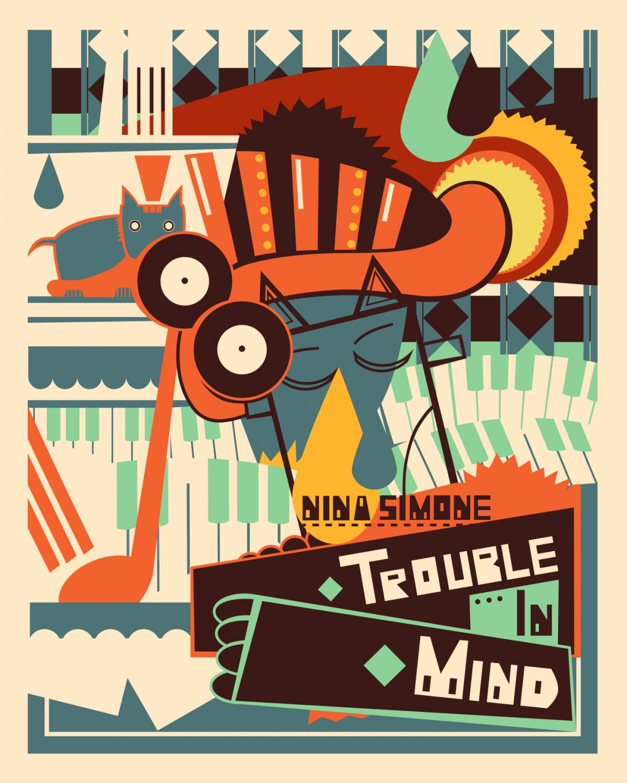 "Nina Simone Trouble in Mind Vintage 24""x35"" (60cm/90cm) Canvas Print"