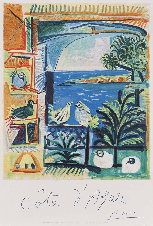 "Pablo Picasso Cote D'Azur 13""x19"" (32cm/49cm) Polyester Fabric Poster"