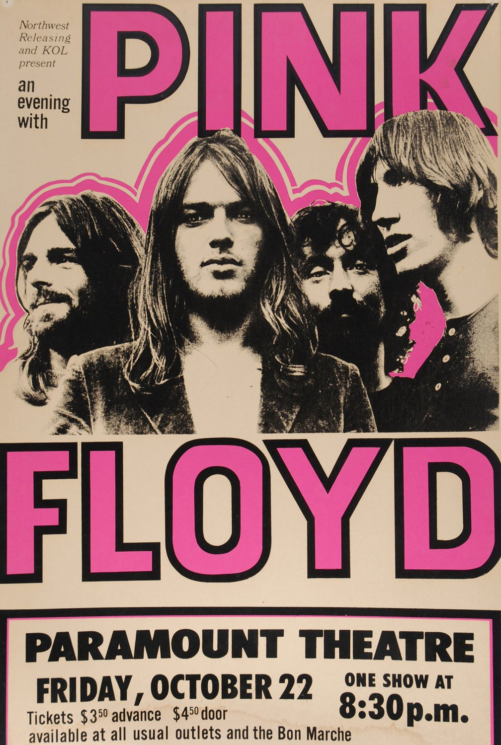 """Pink Floyd Paramount Theatre Concert Tour 13""""x19"""" (32cm/49cm) Polyester Fabric Poster"""