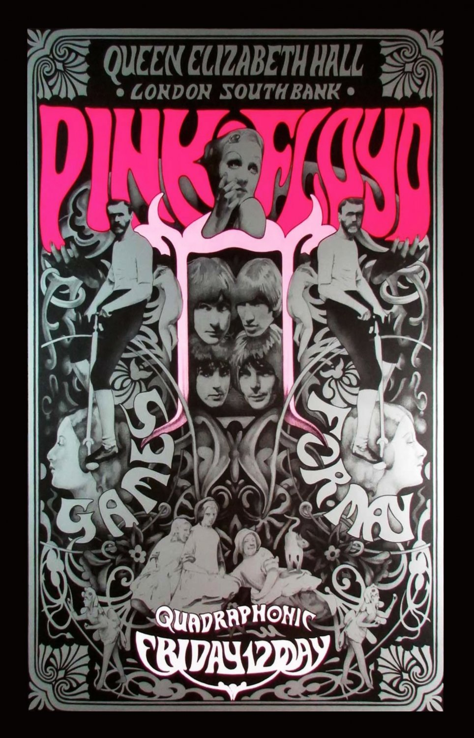 "Pink Floyd Queen Elizabeth Hall Concert Tour 13""x19"" (32cm/49cm) Polyester Fabric Poster"