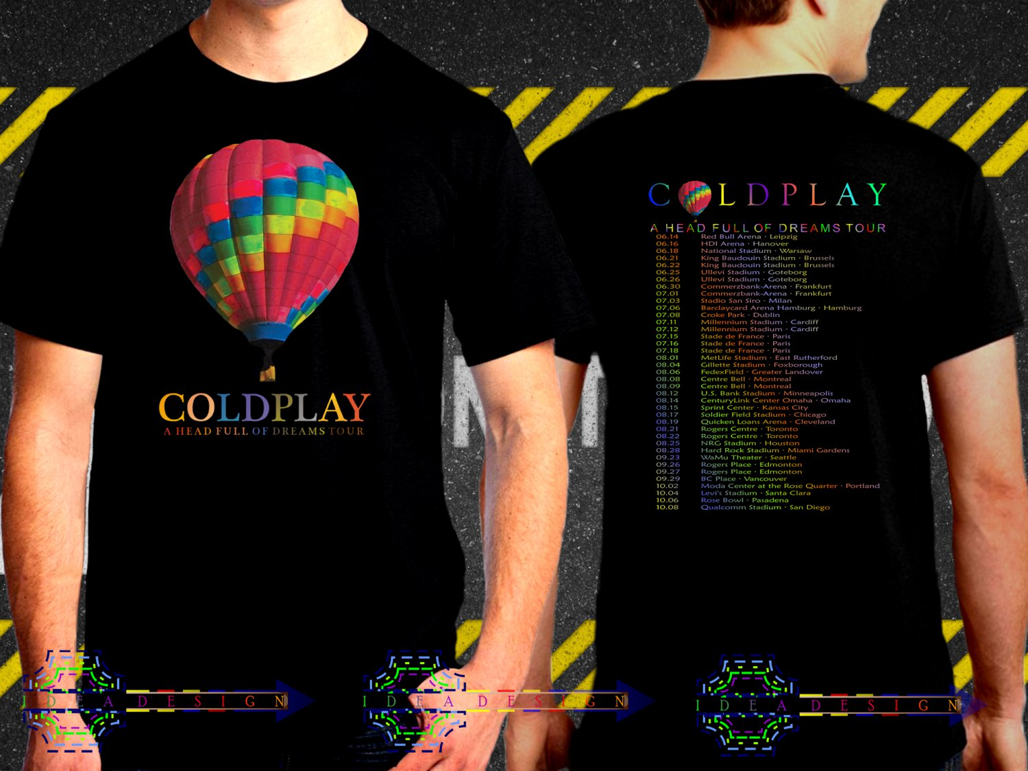 Coldplay A Head Full Of Dream World Tour Dates 2017 Black Concert T Shirt to 3XL A12