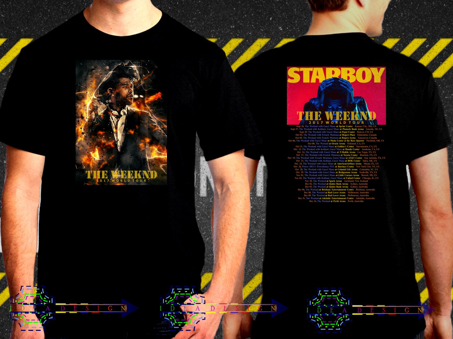 The Weeknd Tour Date 2017  Black Concert T-Shirt S to 3XL TheW5