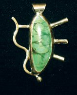 Handcrafted Green Turquoise and Fine Silver Cabochon Pendant