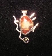 Handcrafted Jasper, Dichroic Glass,  and Fine Silver Cabochon Pendant
