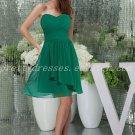 Pretty Knee Length Hunter Green Chiffon Bridesmaid Dress