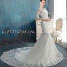 3/4 Sleeves Scoop Neckline Mermaid/Trumpet Lace Wedding Dress