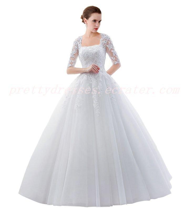 1/2 Sleeves Square Neckline Princess Ball Gown Wedding Dress