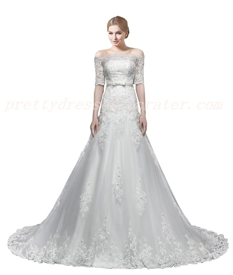 Stunning Off Shoulder Short Sleeves A-line Lace Wedding Dress