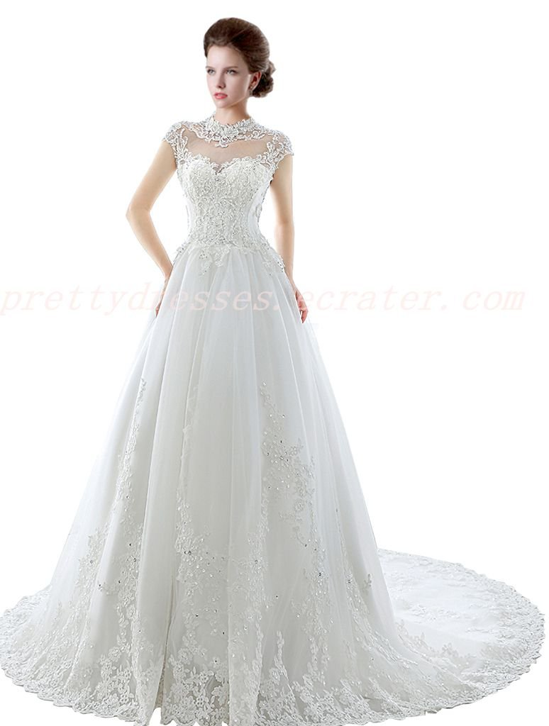 Cap Sleeves High Neck Lace Wedding Dress For Ceremony