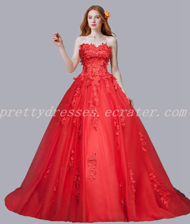 Fairy Tale Red  Lace Wedding Dress With 3d Appliques
