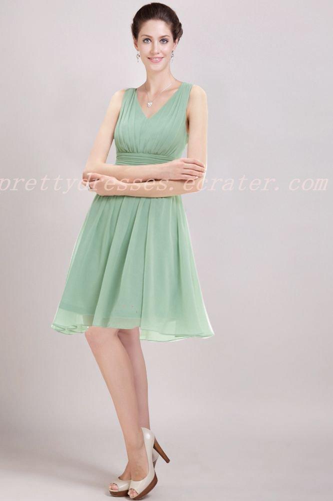 V-Neckline Sage Colored Chiffon Junior Bridesmaid Dress