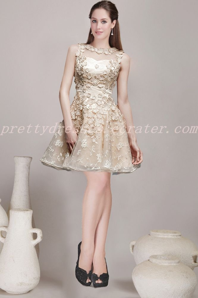 Modern Jewel Neckline Short Length Champagne Homecoming Dress