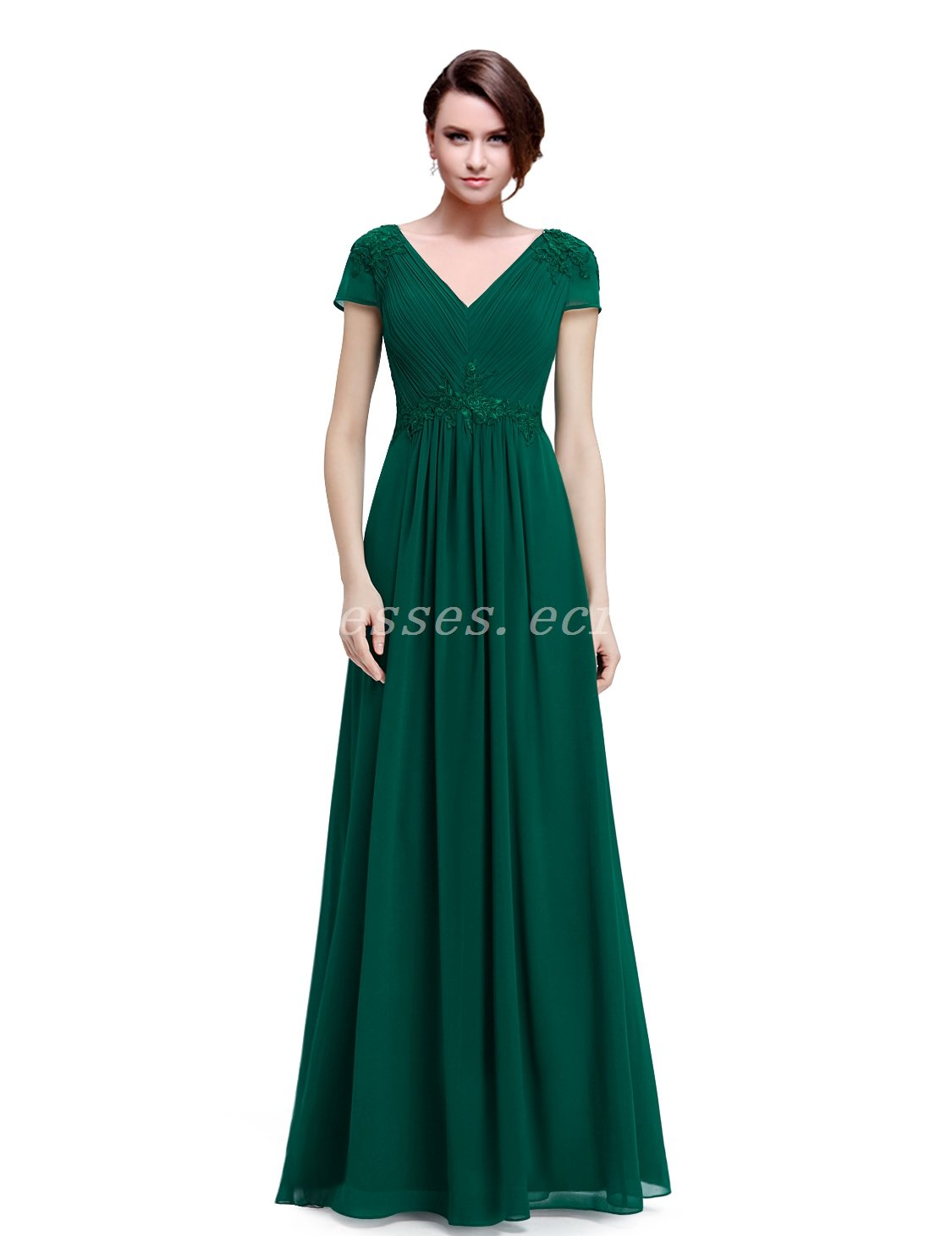 Short Sleeves V-Neckline Forest Green Chiffon Mother Of The Bride Dress