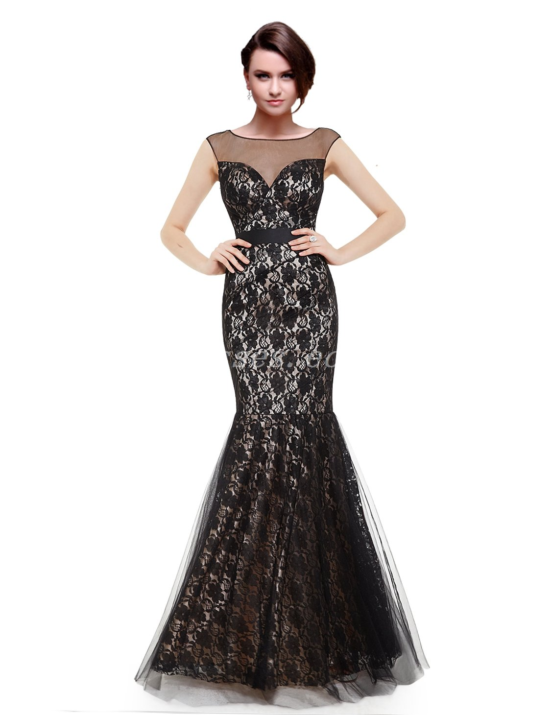 Charming Scoop Neckline Mermaid/Fishtail Black Lace Mother Of The Groom Dress