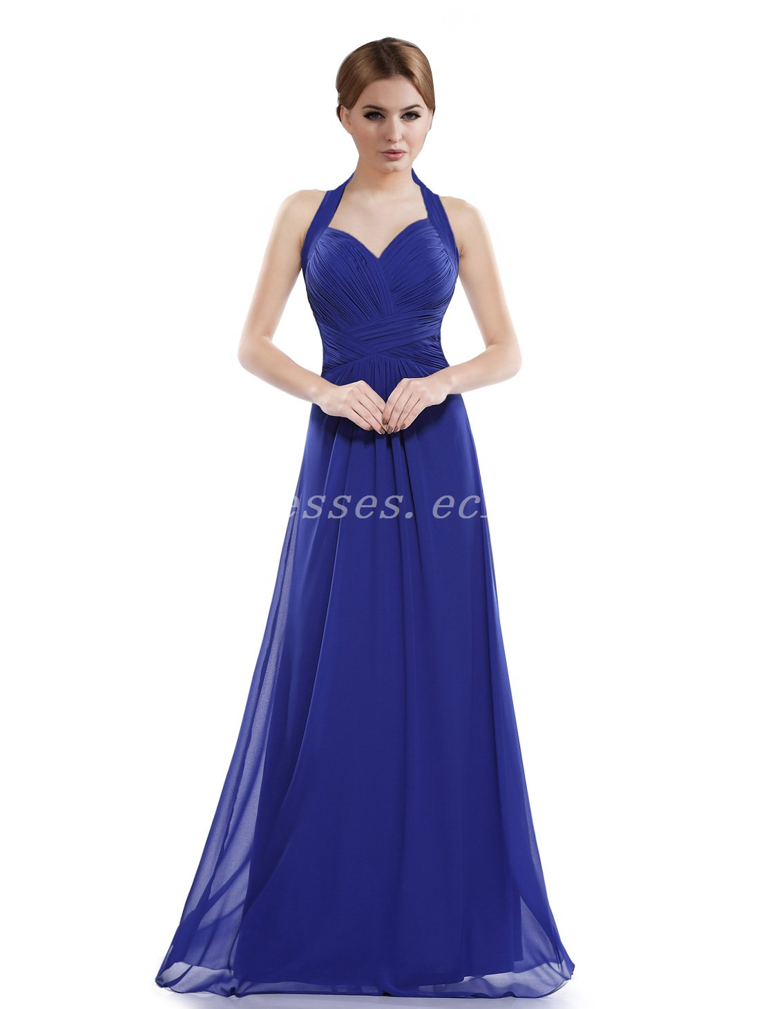 Noble Top Halter A-line Floor Length Royal Blue Bridesmaid Dress
