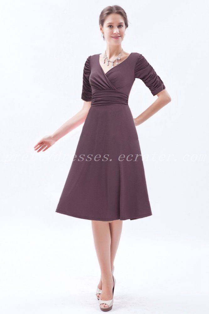 1/2 Sleeves V-Neckline Tea Length Chocolate Brown Mother Of The Groom Dress