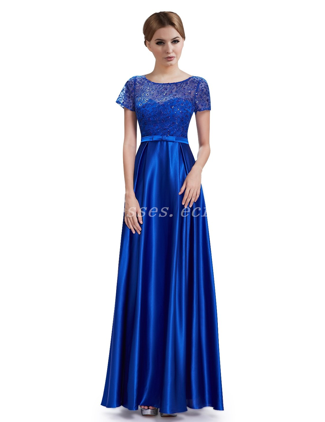 Short Sleeves Column Full Length Royal Blue Mother Of The Bride Dress With Lace