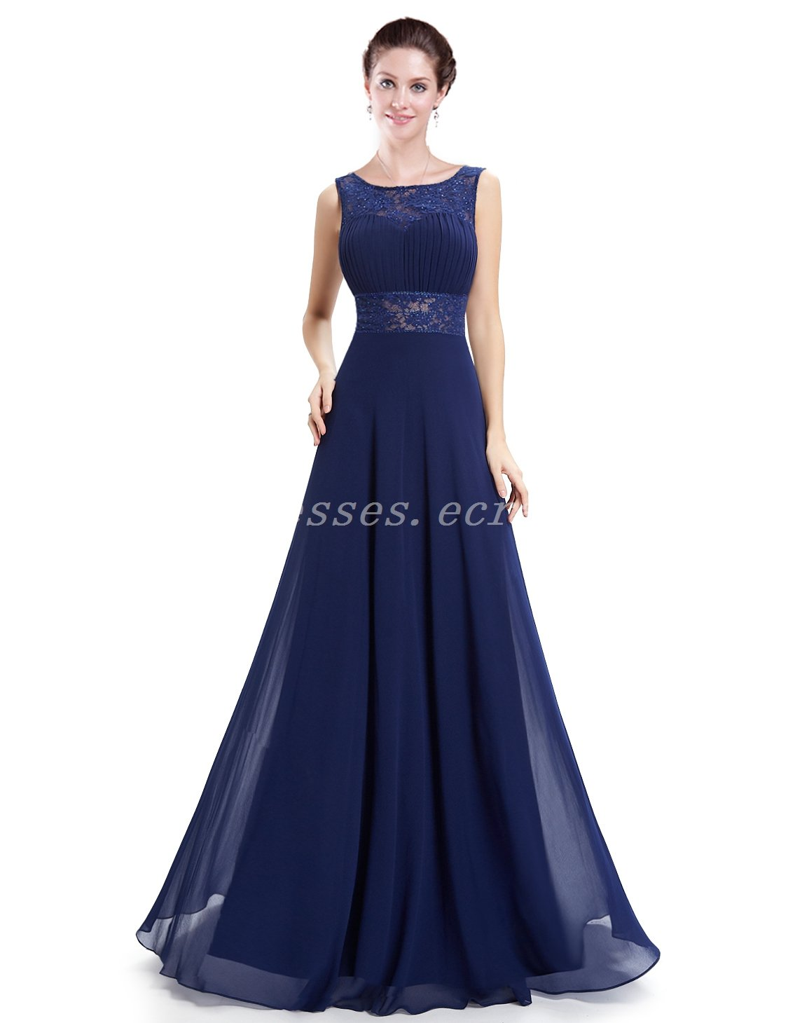Charming Backless A-line Navy Blue Formal Evening Gowns