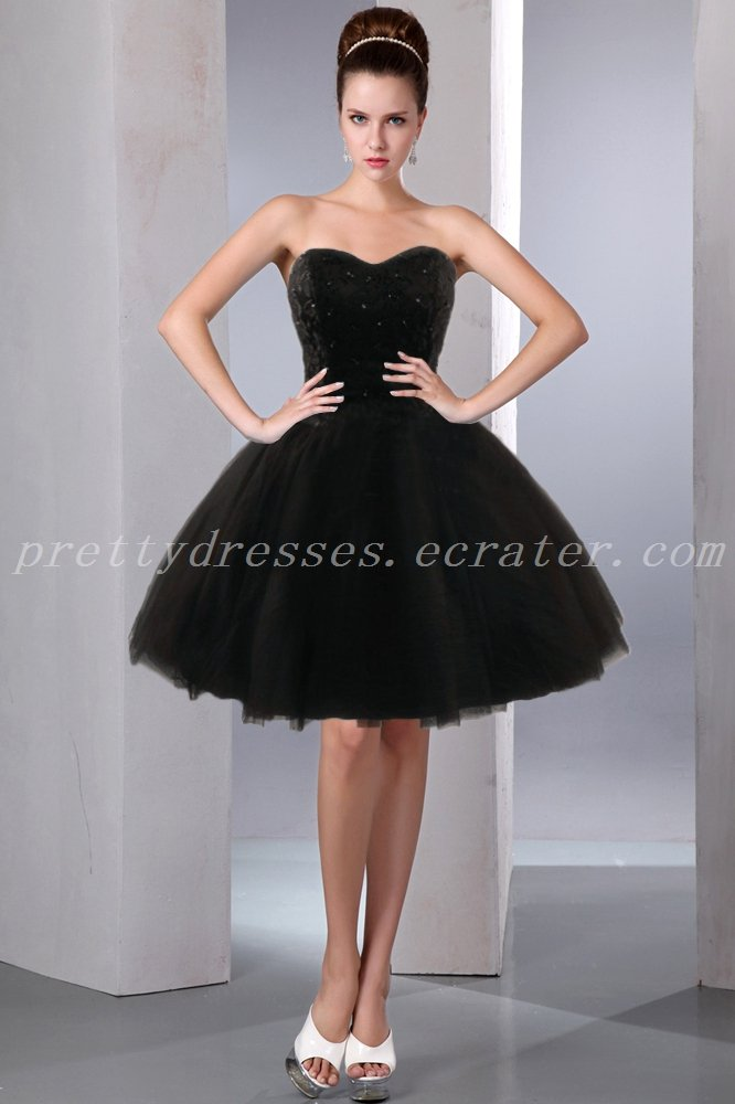 Modern Puffy Knee Length Black Sweet Sixteen Dress With Beads
