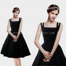 Vintage Spaghetti Straps Knee Length Black Prom Dress