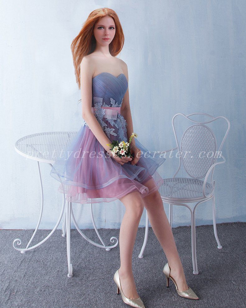 Pretty Blue And Pink Puffy Homecoming Dress With Belt