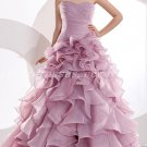 Stunning Ruffled Organza Lilac Wedding Dresses With Pleated Bodice