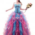 Dropped Waist Colorful Rainbow Sweet 15 Dresses