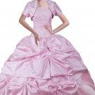 Sweet Ball Gown Pink Taffeta Quinceanera Dresses With Bolero