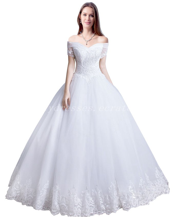 Off Shoulder Ball Gown Lace Wedding Dress