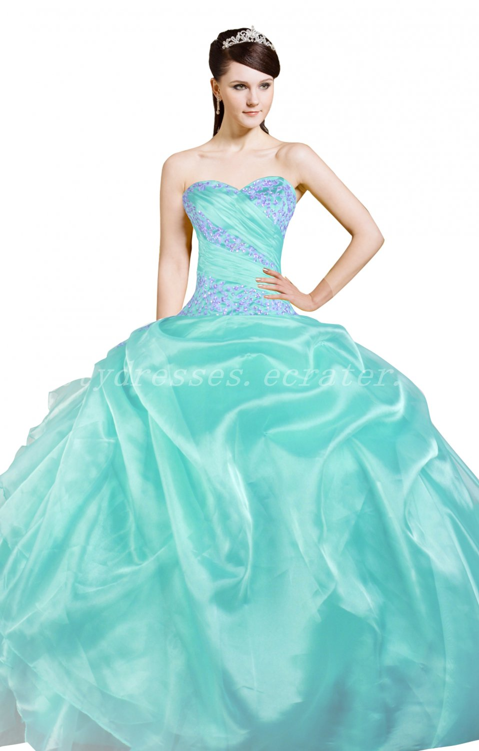 Pretty Sweetheart Ball Gown Tiffany Blue Organza Sweet 15 Dresses