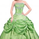 Cute Strapless Ball Gown Lime Green Taffeta Quinceanera Dresses
