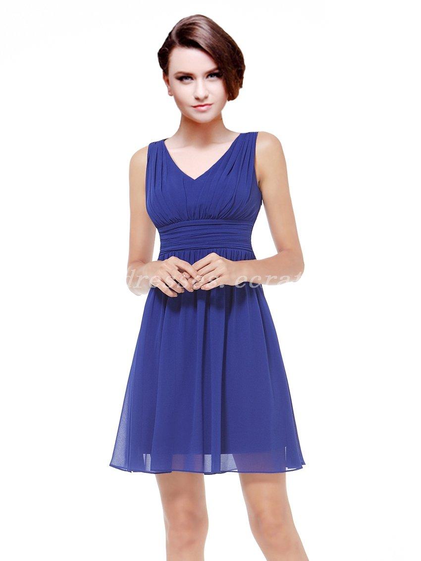Modest V-neckline Chiffon Royal Blue Bridesmaid Dresses