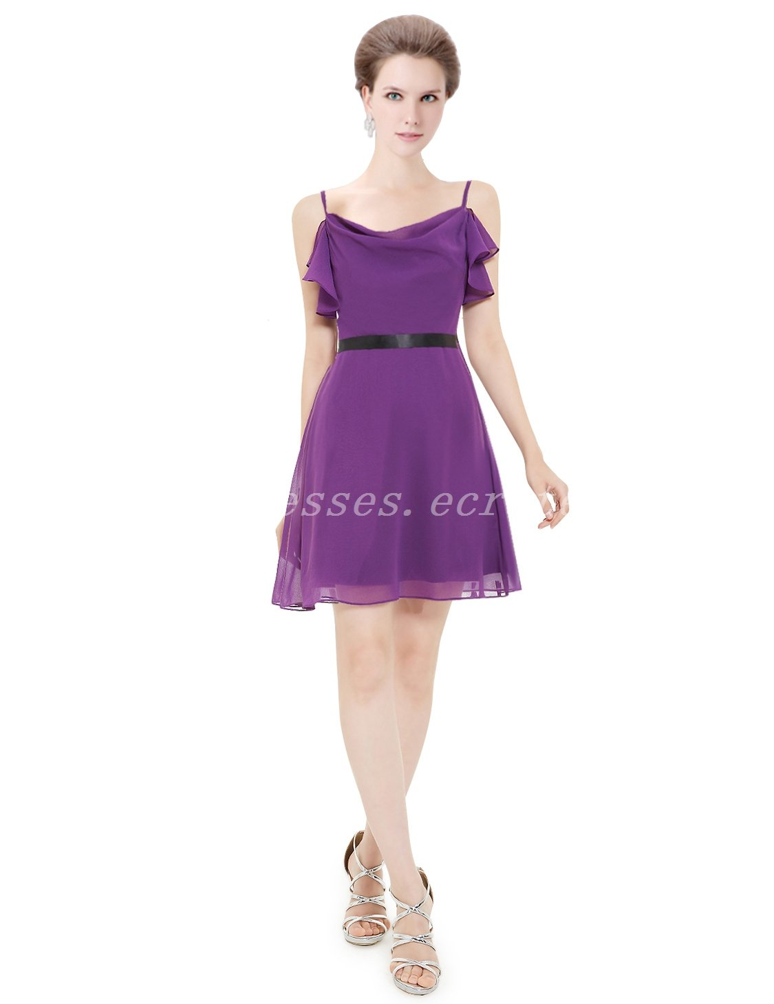 Chic Spaghetti Straps Purple Bridesmaid Dress With Black Belt