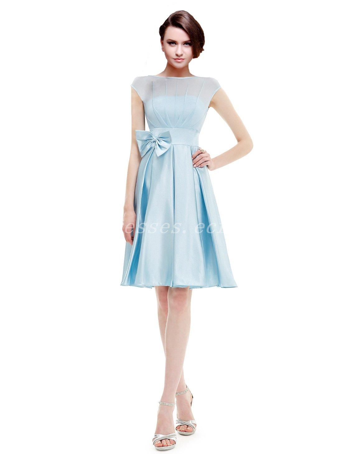 Bateau Neckline Knee Length Blue Bridesmaid Dresses