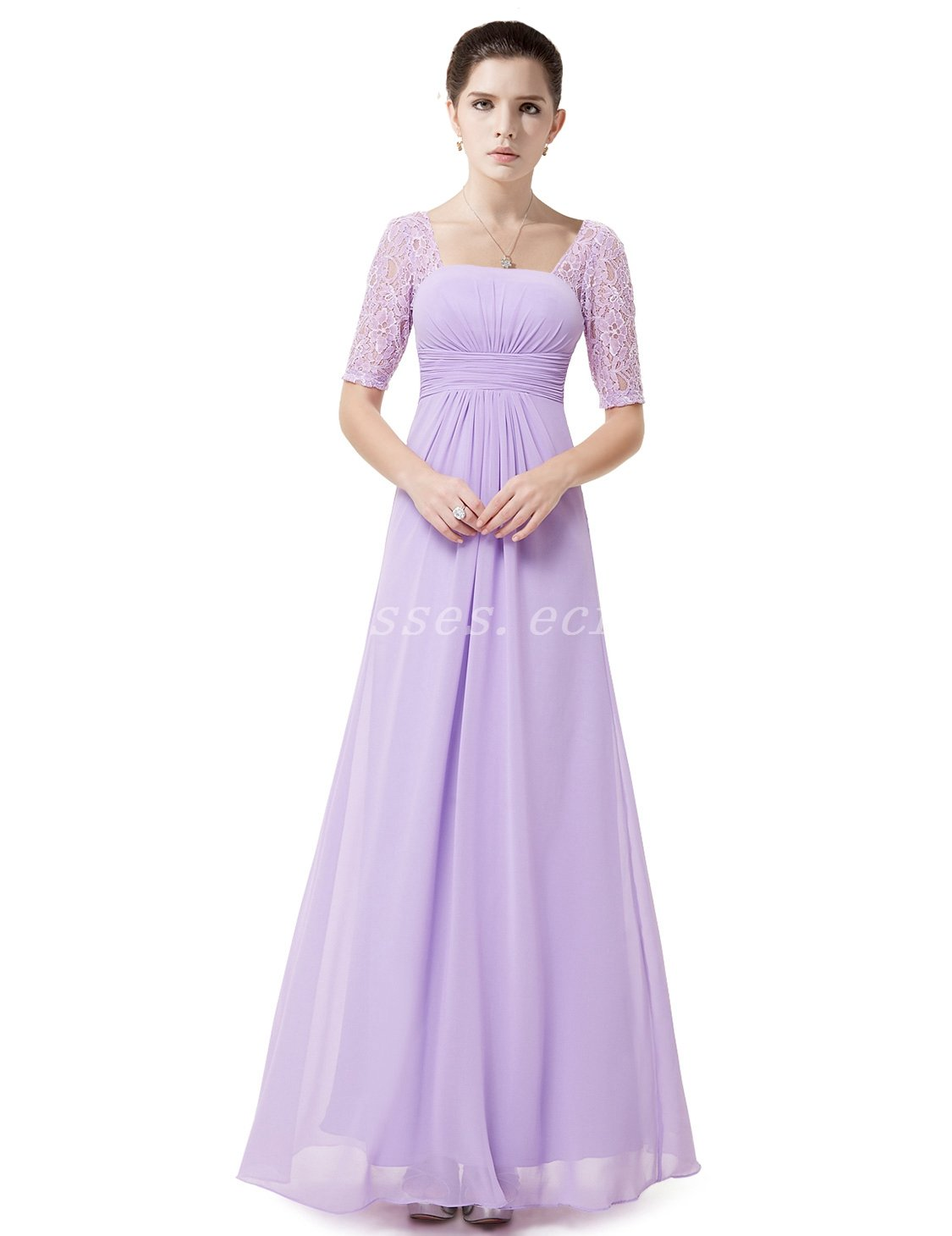 Half Sleeves Square Neckline Lilac Bridesmaid Dresses With Lace