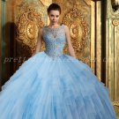 Breathtaking Illusion Baby Blue Quinceanera Dresses With Keyhole Back