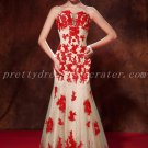 Charming A-line Champagne And Red Lace Prom Dresses