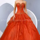 Beautiful Sweetheart Ball Gown Organza Orange Quinceanera Dresses