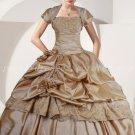 Modest Taffeta Champagne Quinceanera Dresses With Bolero