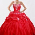 Classy Sweetheart Ball Gown Red Organza Sweet 15 Dresses
