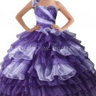One Shoulder Ball Gown Purple Quinceanera Dresses With 3d Flowers